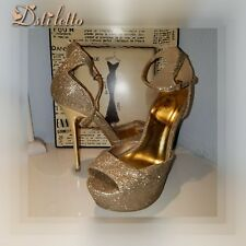 QUPID Gold Glitter Platform Strappy Stiletto High Heel Booties Women's Shoes 6.5