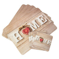 Set of Placemats & Coasters Dining Table Place Settings Mats Vintage Home Heart