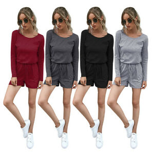 Women's solid color round neck long-sleeved jumpsuit jumpsuit one piece pullover