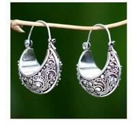 Tibetan Carving Woman 925 Silver Pendant Hoop Birthday Jewelry Earrings Popular