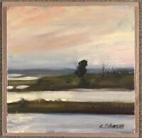 """LBI Fishing Spot""original oil painting Long Beach Island 8""x 8"""