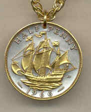 Great Britain 1/2 Penny Sailing Ship Gold on Silver Pendant + Necklace Gift item