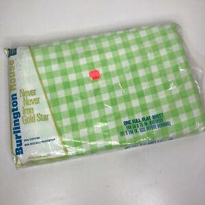 Vintage Burlington Flat Sheet King Green White Checkered Picnic Plaid NEW NOS