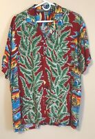 Pineapple Connection Hawaiian Aloha Shirt Med Palm Tropical Bird Boats Red Green