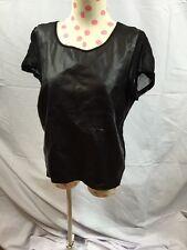 Top Shop women's leather front short sleeve Sheer backtop Sz 6