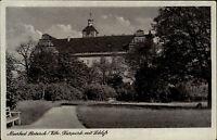 Moorbad Pretzsch Elbe DDR s/w AK ~1950/60 Partie im Kurpark mit Blick auf Schloß