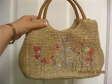 Flower Tweed Pattern Purse Handbag Shoulder Baguette Pretty Multi Colors