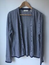 Lord & Taylor Women's Cardigan Knit Navy Blue White Lightweight Sweater Size L
