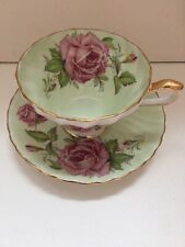 Light Green Aynsley Teacup And Saucer Large Pink Cabbage Rose Swirl Shape