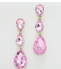 "3"" Long Light Pink Gold Drop Crystal Rhinestone Pageant Dangle Pierced Earrings"