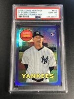 GLEYBER TORRES 2017 TOPPS HERITAGE CHROME 603 PURPLE REFRACTOR ROOKIE RC PSA 10