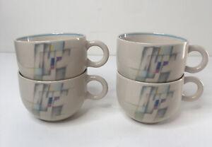 Set of 4 Epoch Coffee Tea Mugs Cups Retro Mod Geometric Design Sm Round Handles