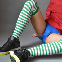 Men Stripes Long Knee Thigh High Stockings Athletic Football Running Sport Socks