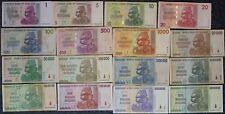 [19863] - 16 verschiedene BANKNOTEN ZIMBABWE: 1 $ - 10 TRILLION - HYPERINFLATION