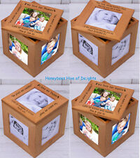 PERSONALISED WOODEN Oak Multiple PHOTO I We Love My Our Frame Keepsake Cube