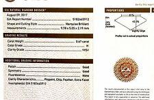 GIA certified .67ct VVS1 H loose marquise cut diamond vintage estate antique