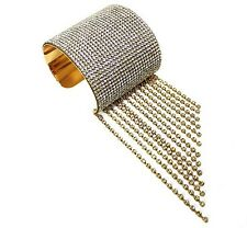 """2.50"""" gold crystal pave bracelet bangle cuff fringe tassel bridal prom 158"""