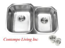 """32"""" Stainless Steel Double 60/40 Bowl 18 Gauge Undermount Kitchen Sink Strainer"""