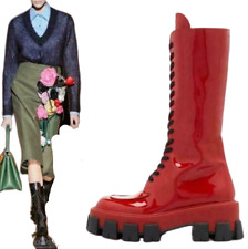 Women's Designer Patent Leather Lace Up Boots Runway Mid-Calf Platform Shoes @