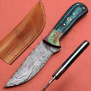 Handmade Damascus Hunting Skinner Knife With Pakka Wood Handle # 986