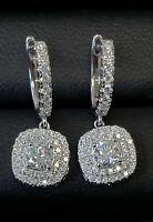 Round Diamond Cushion Shape Double Halo Dangle Drop Earrings,18k White Gold