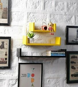 3 MDF U Shaped Floating Wall Display Shelf Cubes For Book And Articles, Yellow