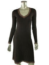 Missoni 6 Dress Brown Knit Sweater Long Sleeve Ribbed Pleated V neck Wool