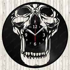 Skull Vinyl Record Wall Clock Decor Handmade 1564