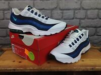 NIKE LADIES UK 4 EUR 37. WHITE AIR MAX 95 WHITE BLUE MINT GREEN TRAINERS RRP £95