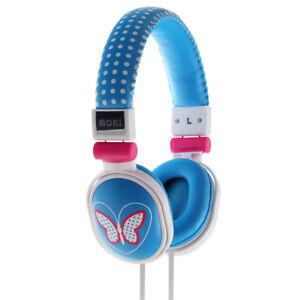 Moki Butterfly POPPER HEADPHONES - NEW Blue earphones ear/head phones