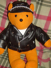 Eastern Brown Biker Bear in Leather Jacket and Cap W/ Chain