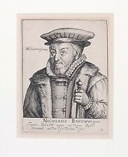 Portrait Sir Nicholas Bacon Etching Engraving Arnhem Netherlands 1620