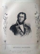 ANDREA MASSENA Generale francese Litografia orig.  UOMINI ILLUSTRI 1838 FRANCIA