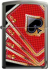 Zippo Card Suits four 4 Aces Red / Gold on Black Ice Windproof Lighter NEW RARE