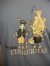 Attitude Jack Donkey Tee Shirt Bad Ass Fisherman Sz XL Blue Graphic T-Shirt NWOT