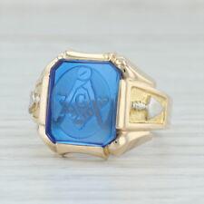 Freimaurer Ring - 10k Gold Größe 10-10.25 Gravierte Synthetische Blau Spinel