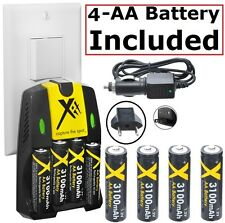 4AA Battery + Home & Car Charger for Fujifilm FinePix HS25EXR HS28EXR