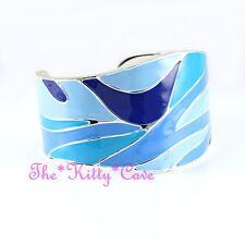 Unusual Wavy Bright Blue Shades Enamel & Silver Adjustable Cuff Bangle Bracelet