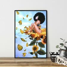 Black Girl Sunflower Poster, African American Black Girl Poster, Melanin Black