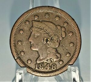 Holed 1848 Large Cent 1c US Copper Coin Penny - You Grade It - H10