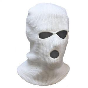 3 Hole SAS Style Motorcycle Biker Ski Winter Warm Balaclava Hood Mask White Snow