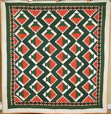 MUSEUM QUALITY Vintage 1870's Red & Green Cake Stand Antique Quilt ~GREAT BORDER