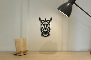 Geometric Rhino Head - Wall Art Decoration Hanging Animal Colour Black/White