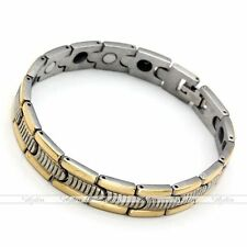 Mens Gold Silver Tone Carved Stainless Steel Magnetic Link Chain Bracelet Bangle