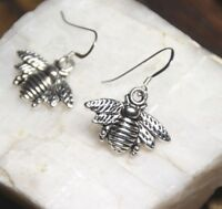 Bumble Bee Earrings Bumble Bees 925 Sterling Silver Hooks Pewter Charm Pendants