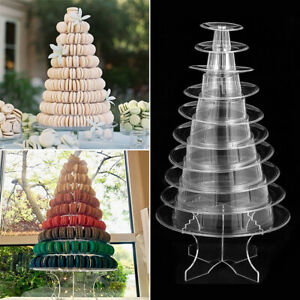 10 Tier Round Macarons Tower Stand Macaron Display Rack Wedding Birthday Decor!