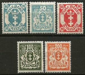 Germany Danzig 1923 MH/MNG Defins State Arms Octagon Mi-138-142 SG-110/1 136/8