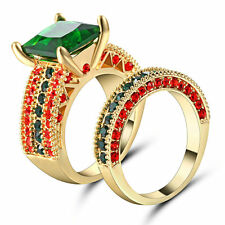 Size 6 Gold Rhodium Wedding Ring Set 2-in-1 Engagement Princess Cut Emerald