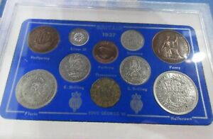 UK 1937 KING GEORGE V 10 COIN SET IN CASE WITH OPTIONAL ROYAL MINT BOOK