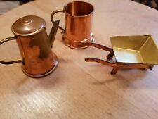 Vintage Brass Miniature Accessories 3 pieces Made inHolland & England Dollhouse